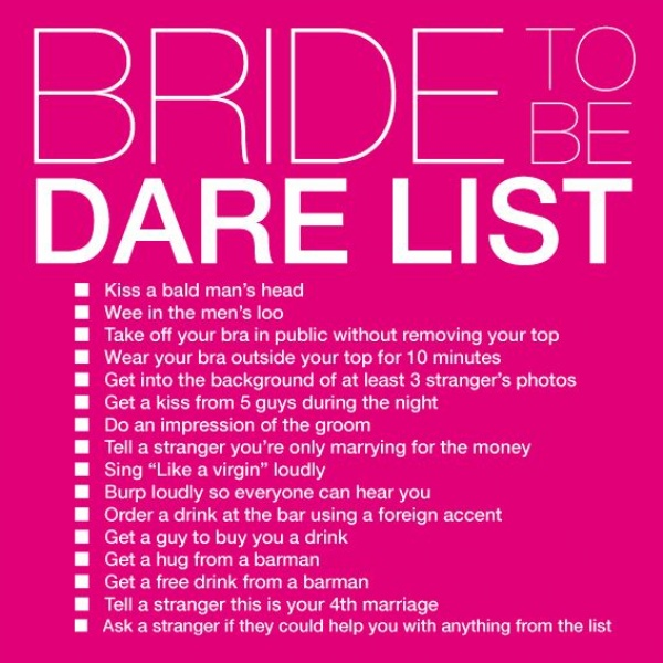 I wanna do something like this and take pictures of each task .. | bachelor party task list