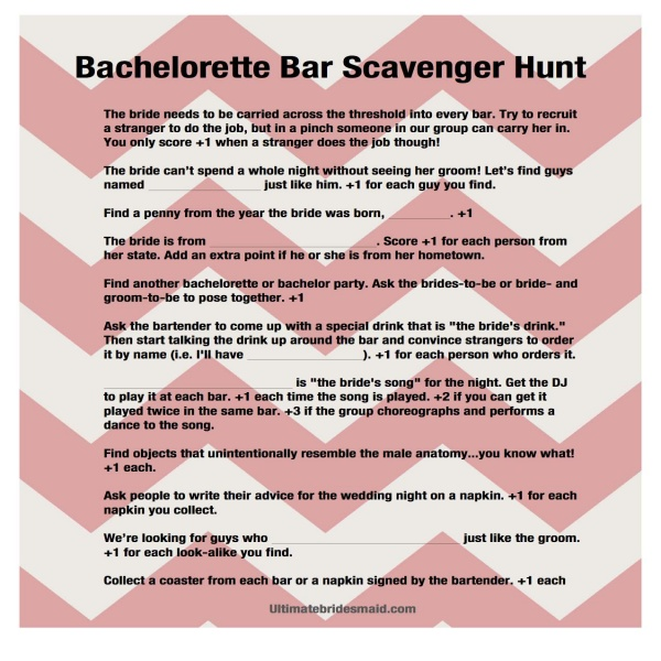 Bachelorette Games: Bar Scavenger Hunt | Bar, Gaming and .. | bachelor party task list
