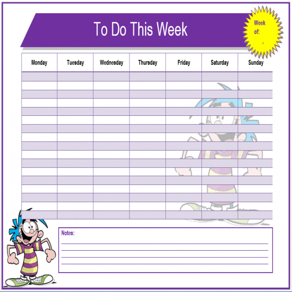Weekly To Do List Template | Microsoft Word Templates | weekly task list template | weekly task list template