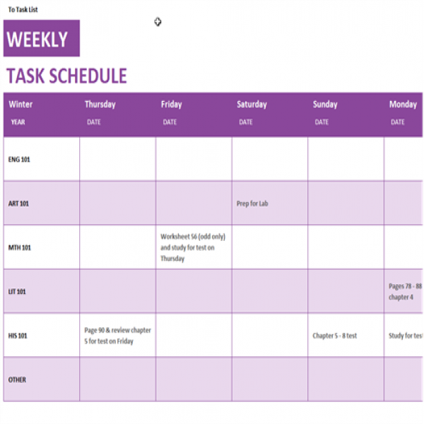 Weekly task schedule - Office Templates | weekly task list template excel | weekly task list template excel