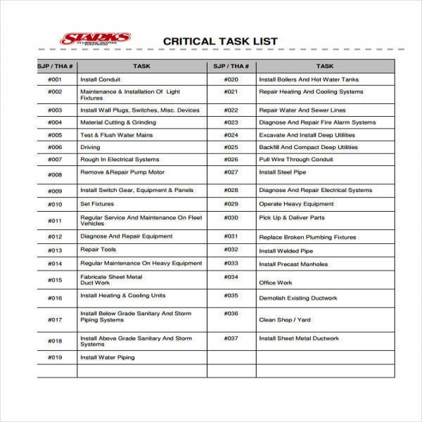 Critical Task List  Task List Templates