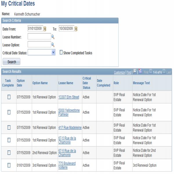 Viewing My Tasklist | critical task list | critical task list