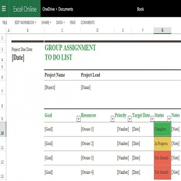 Group Assignment To Do List Template For Excel Online | task list online | task list online