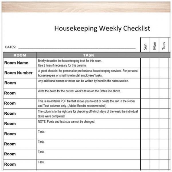 Printable Housekeeping Weekly Checklist Editable PDF | housekeeping task list | housekeeping task list