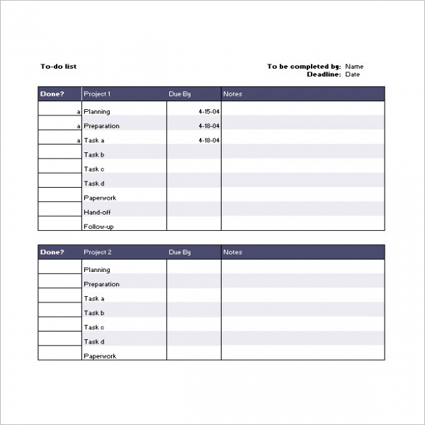 project task list excel