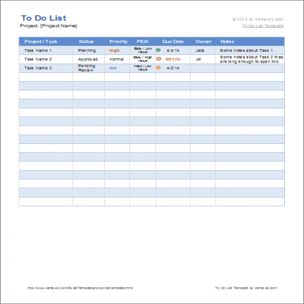 Free To Do List Template for Excel - Get Organized   task list template   task list template