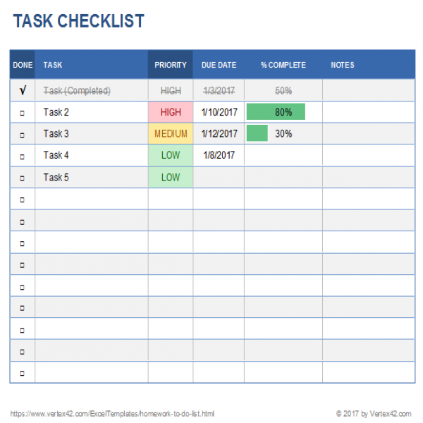 Free Task List Templates for Excel | task list template excel spreadsheet | task list template excel spreadsheet