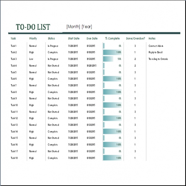 Monthly To Do List Template Excel | to do list template | monthly task list template | monthly task list template