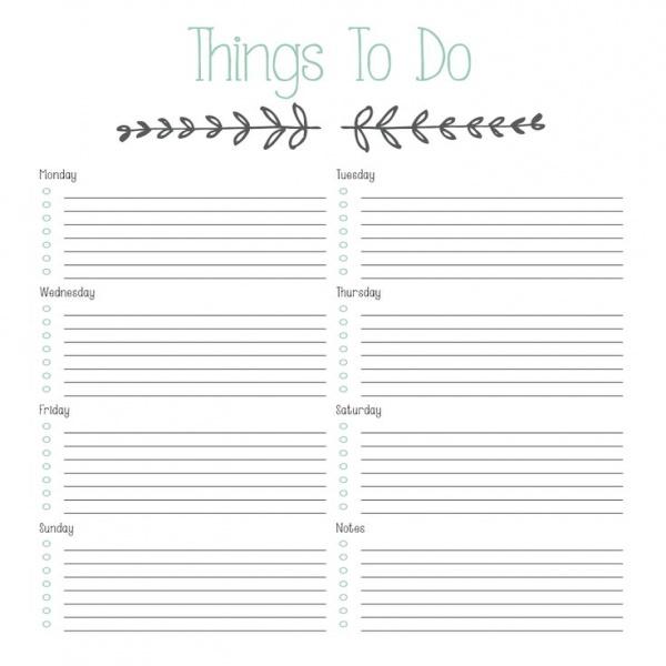 weekly task list