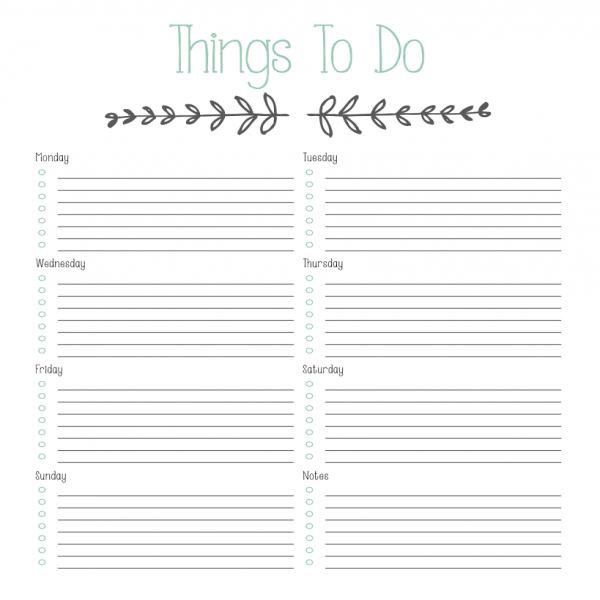 "Printable ""To Do"" List - Designs By Miss Mandee 
