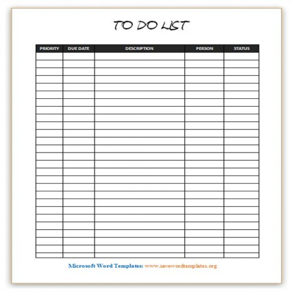 To Do List Template | Save Word Templates | to do list template for word | to do list template for word