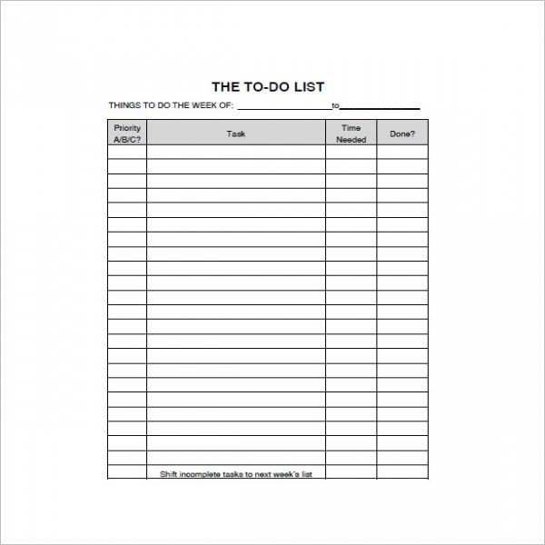 To Do List Template - 15+ Free Word, Excel, PDF Format Download .. | to do list pdf