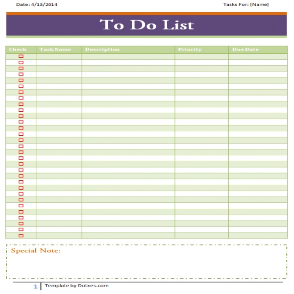 To do list template (Basic) - Dotxes | to do list template word | to do list template word