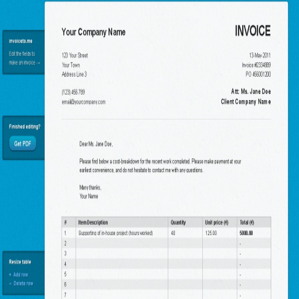 Invoice To Me | printable invoice template | Invoice To Me | Invoice To Me