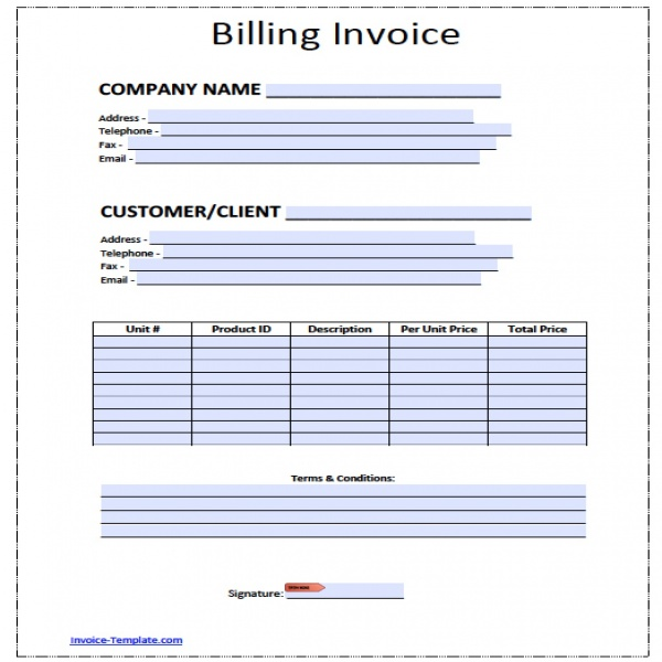 Free Billing Invoice Template | Excel | PDF | Word ( | Invoice Template Pdf