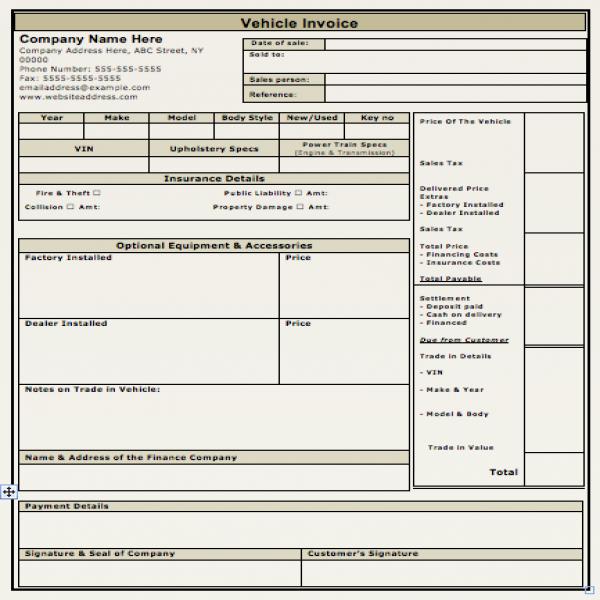 Vehicle Sales Invoice Template | Free Invoice Templates | Vehicle Invoice Template | Vehicle Invoice Template