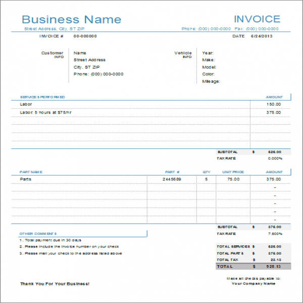 Auto Repair Invoice Template for Excel | Vehicle Invoice Template | Vehicle Invoice Template