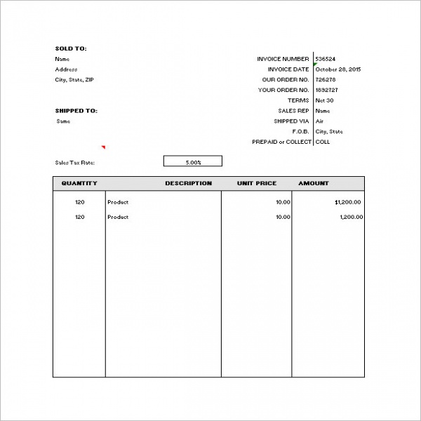 Generic Invoice Task List Templates - General invoice template