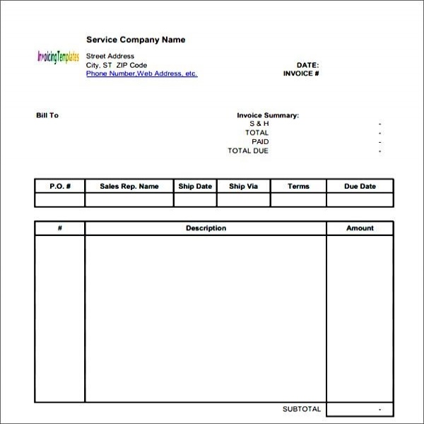 Generic Invoice. Download Form Free Invoice Template | Here Is A ..  Generic Invoices Printable