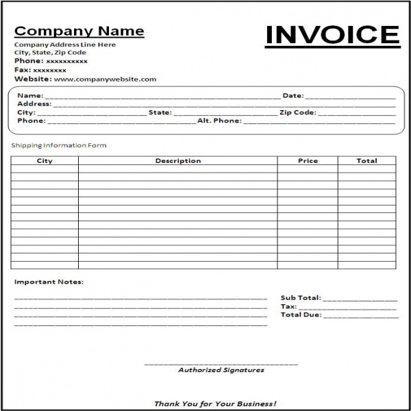 Free Printable Blank Invoice Templates | printable invoice template | Free Printable Blank Invoice Templates | Free Printable Blank Invoice Templates