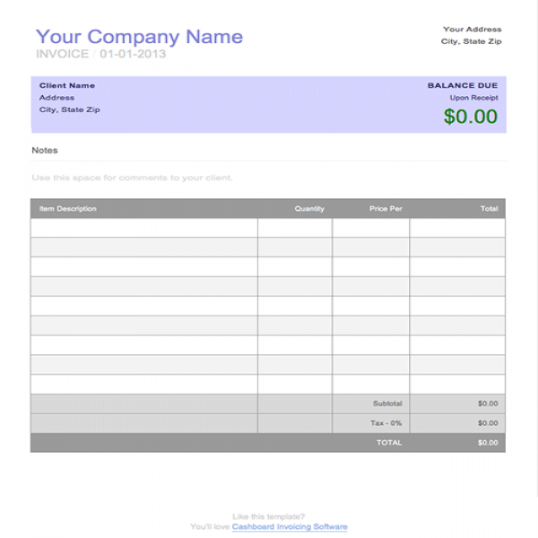 Free Blank Invoice Template for Microsoft Word | Blank Invoice To Print | Blank Invoice To Print