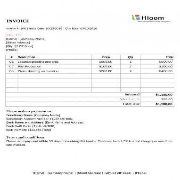 8 Photography Invoice Templates | Photography Invoice Template | Photography Invoice Template