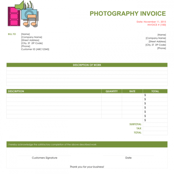 5 Photography Invoice Templates to Make Quick Invoices | Photography Invoice Template | Photography Invoice Template