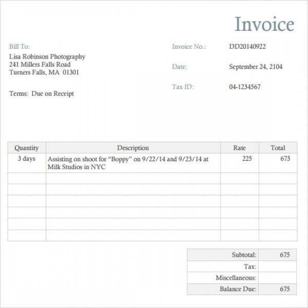 Photography Invoice Template - 7+ Free Samples, Examples, Format | Photography Invoice Template | Photography Invoice Template