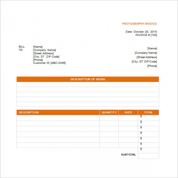 Photography Invoice Templates – 8+ Free Word, Excel, PDF Format .. | Photography Invoice Template