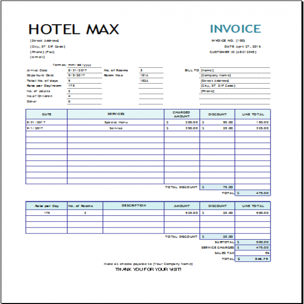 Hotel Invoice Template for EXCEL | EXCEL INVOICE TEMPLATES | Hotel Invoice Template | Hotel Invoice Template