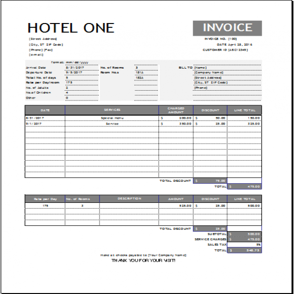 Hotel Invoice Template for EXCEL | Word & Excel Templates | Hotel Invoice Template | Hotel Invoice Template