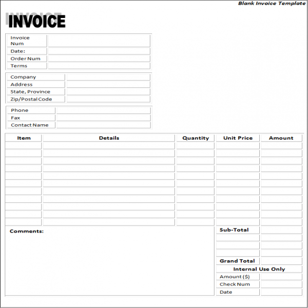 blank-invoice-paper-templates | Blank Invoice Paper | Blank Invoice Paper