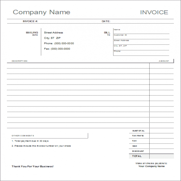 Blank Invoice Template - Printable | Blank Invoice Paper | Blank Invoice Paper