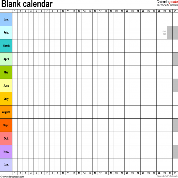 Blank calendar - 9 free printable Microsoft Word templates | calendar template | calendar template