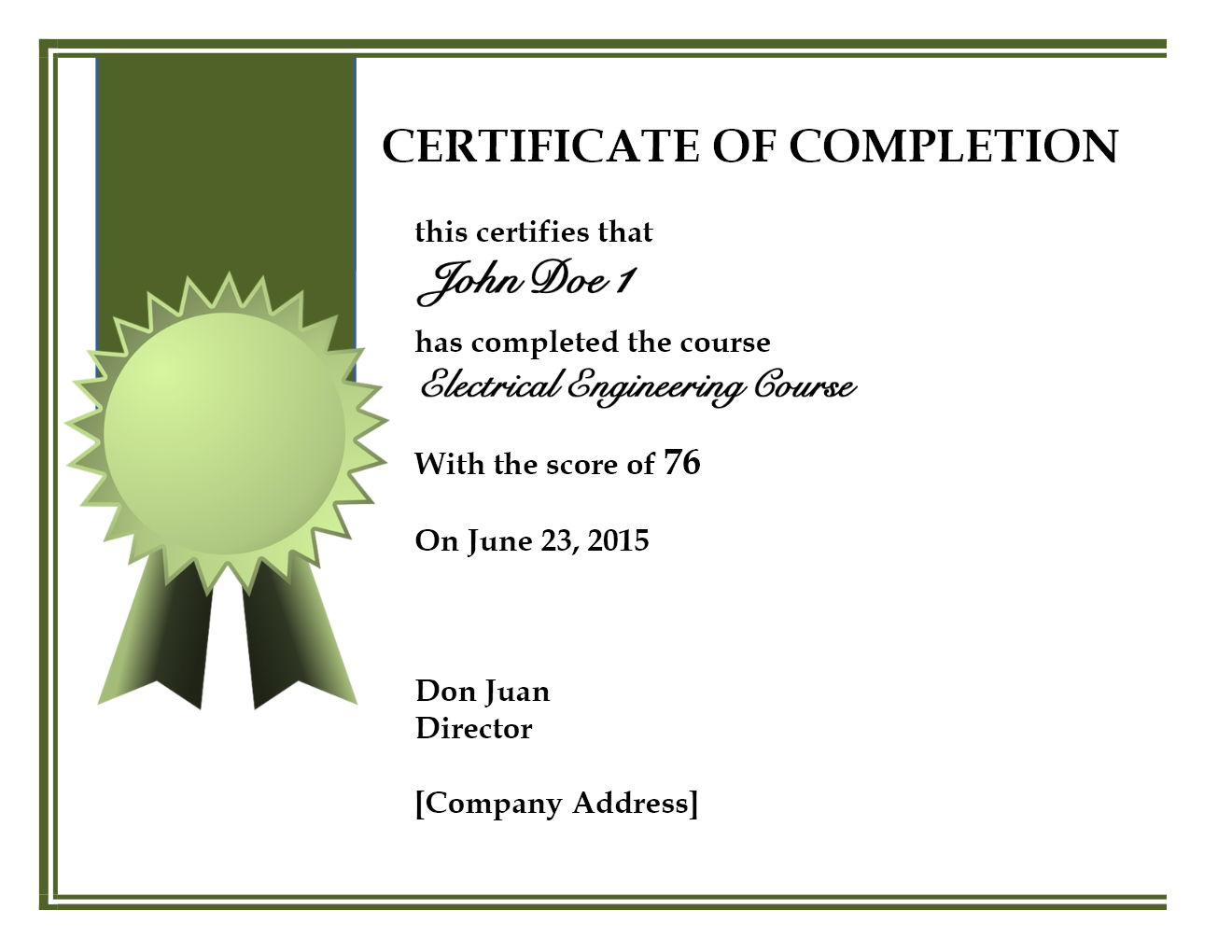 word certificate of completion