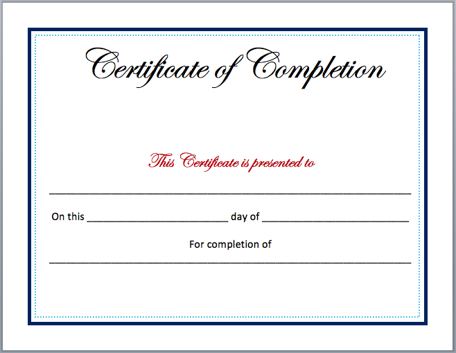 Completion Certificate Template | Microsoft Word Templates