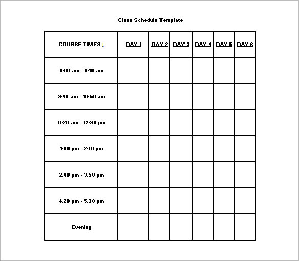Class Schedule Template 26+ Free Word, Excel Documents Download