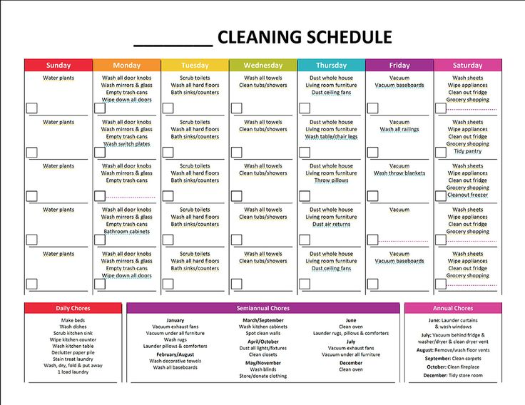 Cleaning Schedule Template Task List Templates