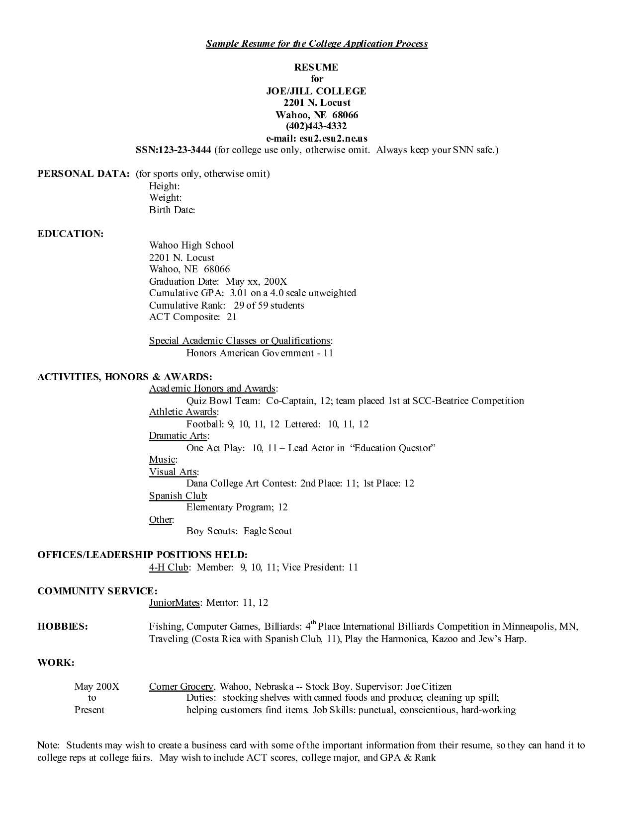 sample student resume for college application liability release