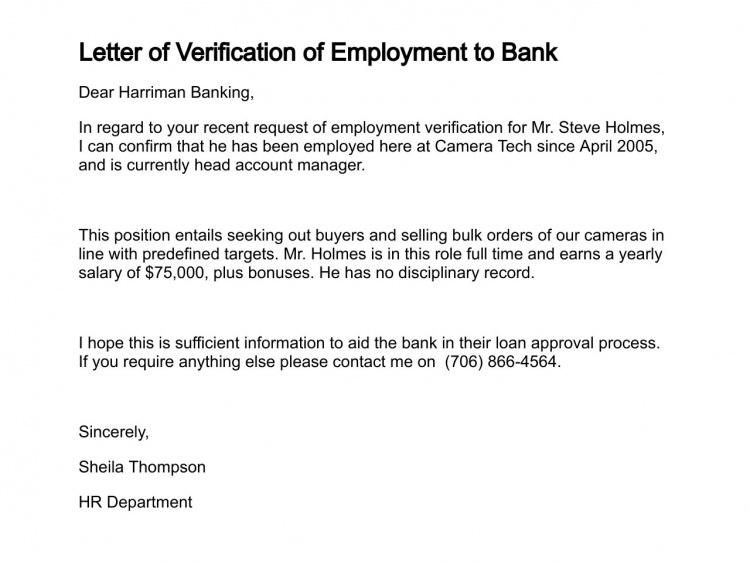 Who Provides Employment Verification Letter