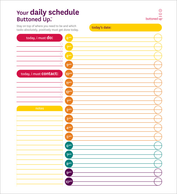 Daily Schedule Template 29+ Free Word, Excel, PDF Documents