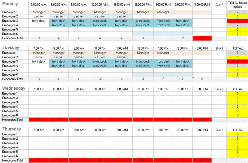 Excel Daily Work Schedule Template