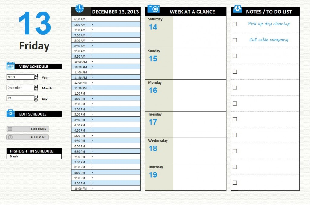 Daily Work Schedule Template Excel XLSX
