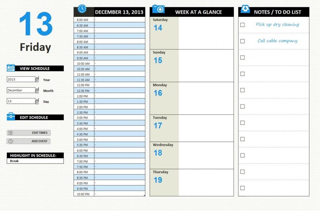 Daily Work Schedule Template Excel XLSX
