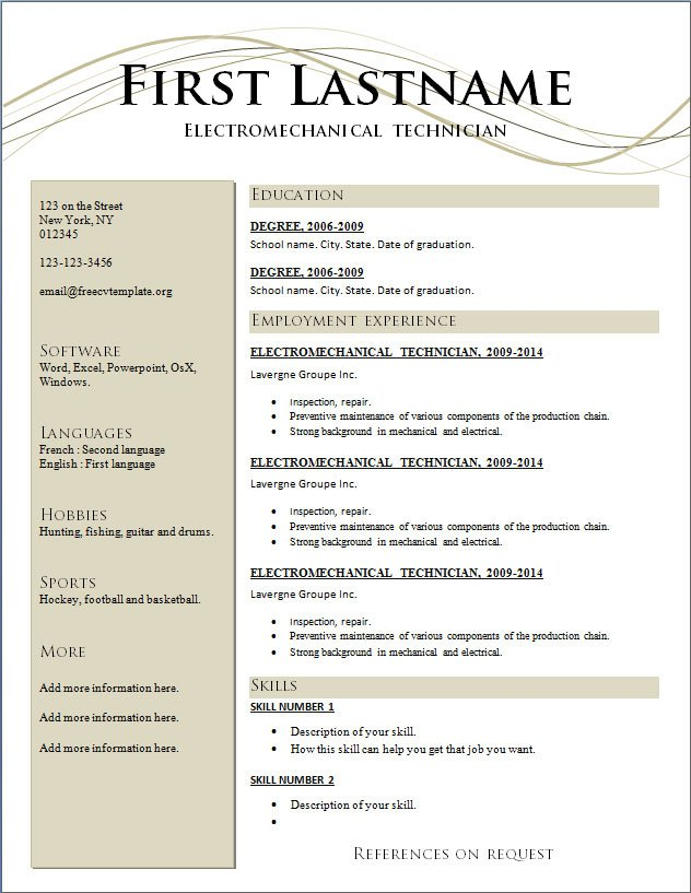 Free Great Resume Templates  NinjaTurtletechrepairsCo