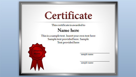 Free Certificate Template for PowerPoint 2010 & 2013