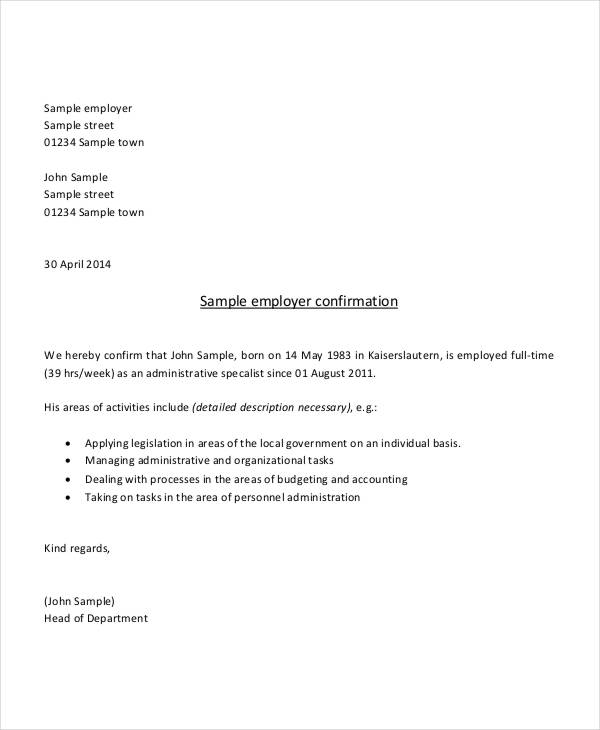 Premium Employment Verification Letter Sample And Template : Vatansun
