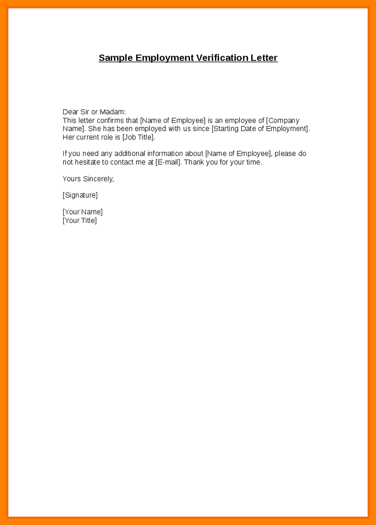 Letter Of Employment Sample Template | Best Business Template
