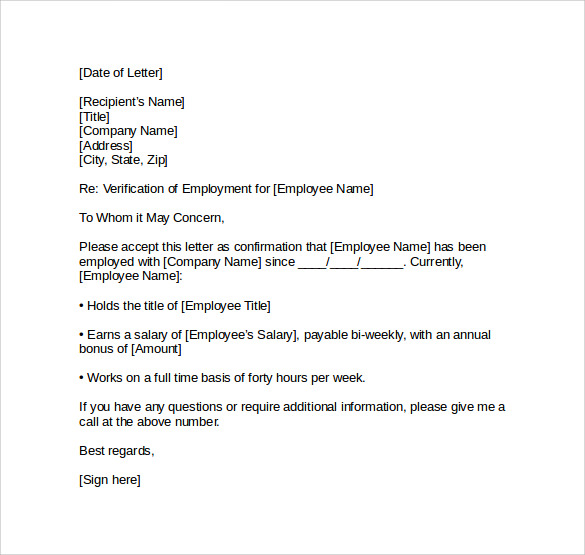 Proof of Employment Letter Sample Employment Verification Letter