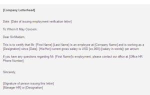Employment Letter For Visa